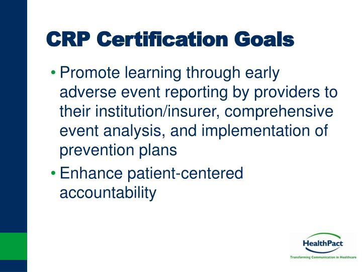 CRP Certification Goals