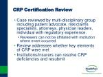 crp certification review