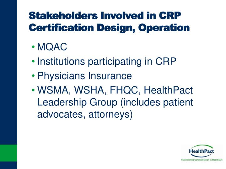 Stakeholders Involved in CRP Certification Design, Operation