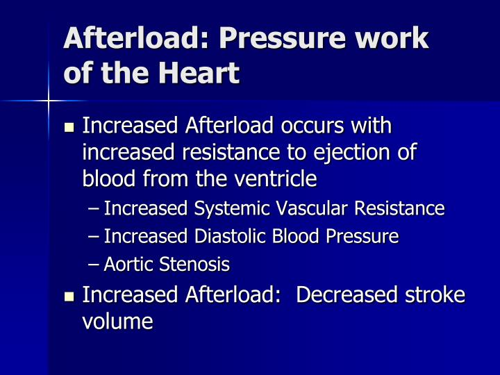 Afterload: Pressure work of the Heart