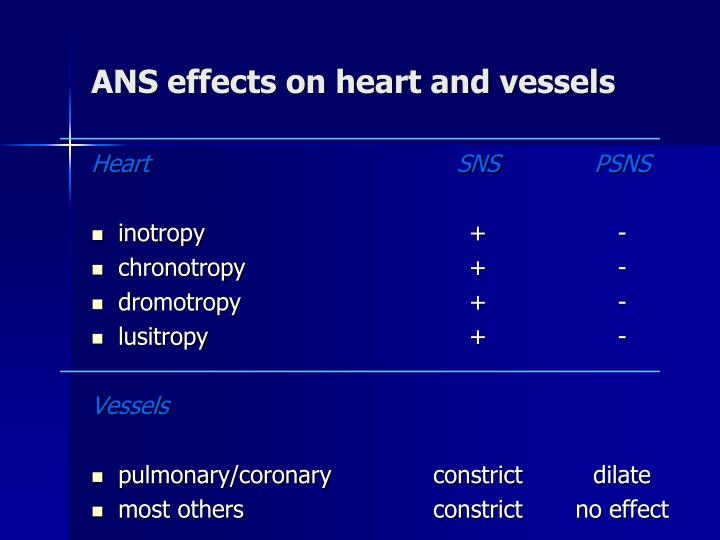 ANS effects on heart and vessels