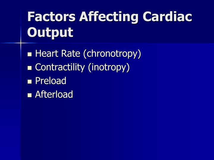 Factors Affecting Cardiac Output