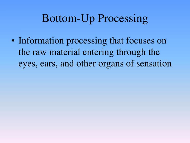 Bottom-Up Processing