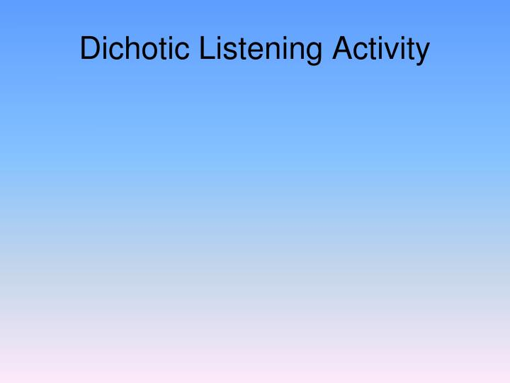 Dichotic Listening Activity