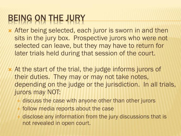 After being selected, each juror is sworn in and then sits in the jury box.  Prospective jurors who were not selected can leave, but they may have to return for later trials held during that session of the court.
