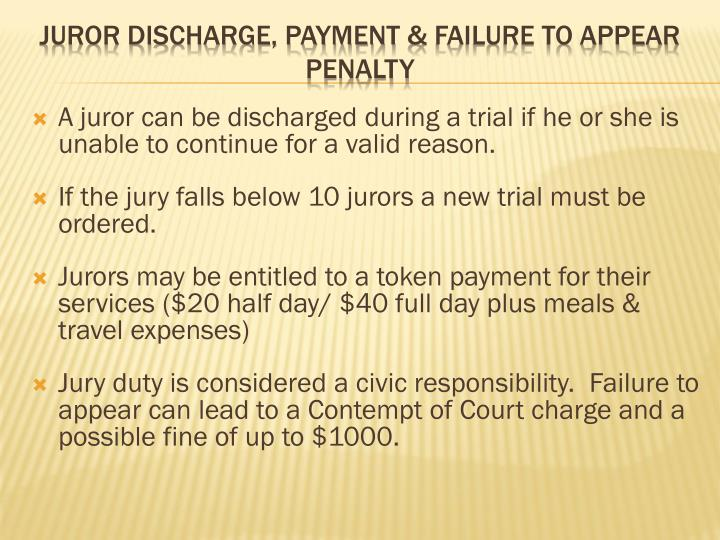 A juror can be discharged during a trial if he or she is unable to continue for a valid reason.