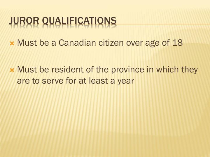 Must be a Canadian citizen over age of 18