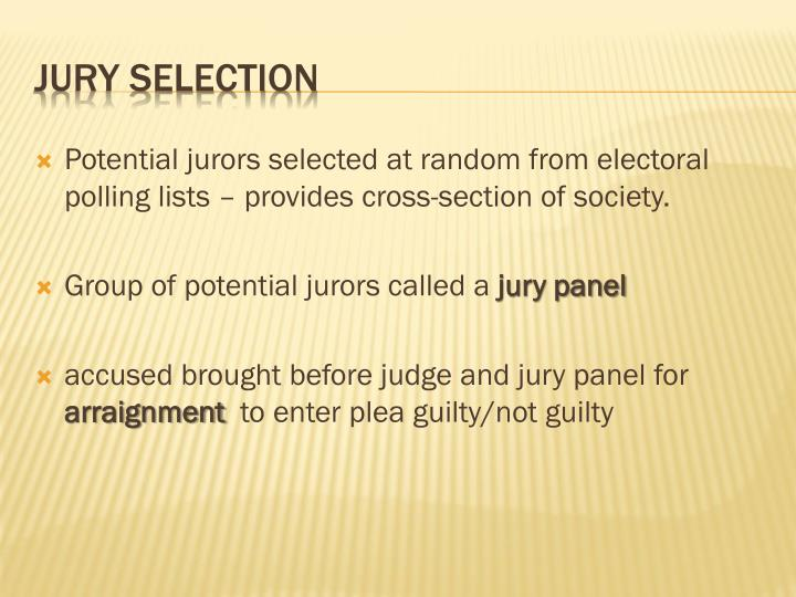 Potential jurors selected at random from electoral polling lists – provides cross-section of society.