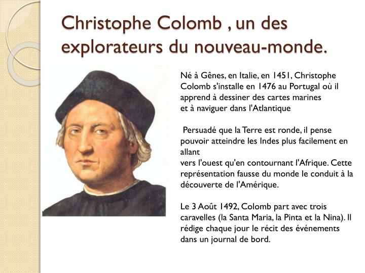 Christophe colomb un des explorateurs du nouveau monde