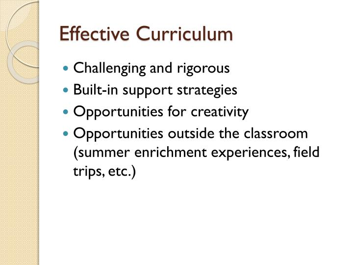 Effective Curriculum
