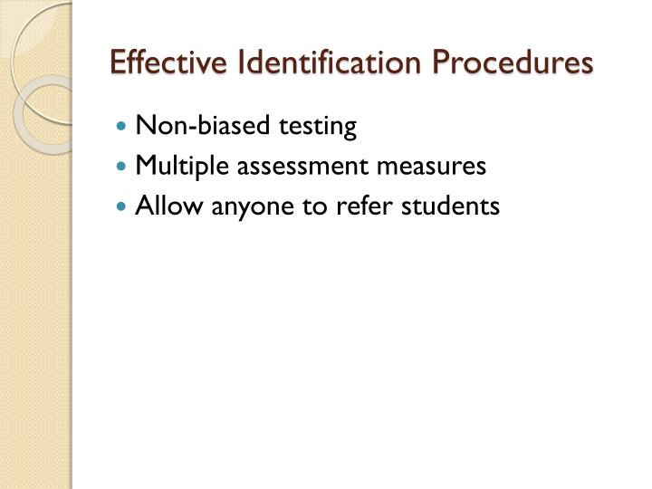 Effective Identification Procedures
