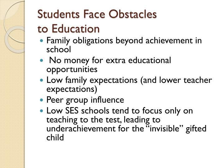 Students Face Obstacles