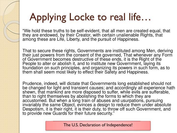 Applying Locke to real life…