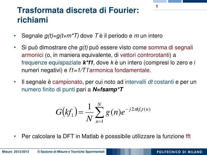 Trasformata discreta di Fourier: