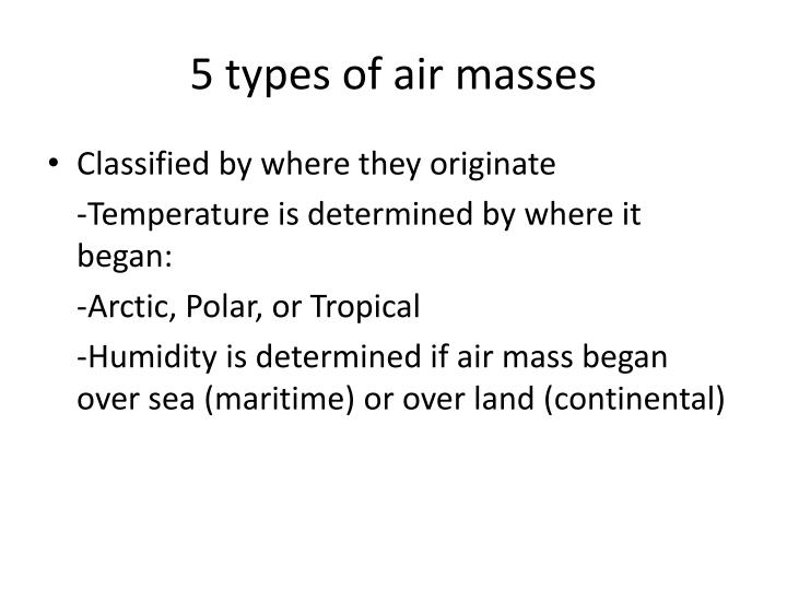 5 types of air masses