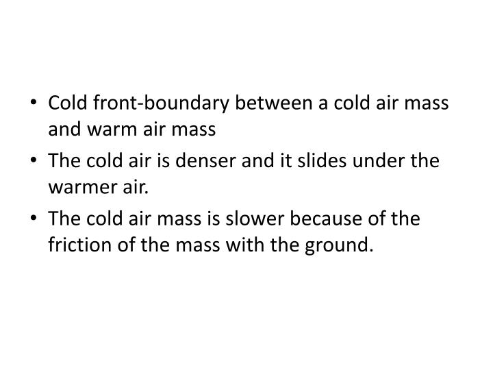 Cold front-boundary between a cold air mass and warm air mass