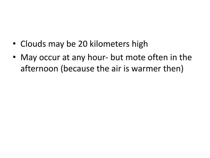 Clouds may be 20 kilometers high