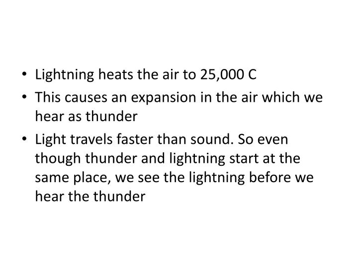 Lightning heats the air to 25,000 C