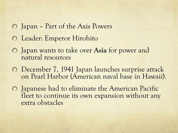 Japan – Part of the Axis Powers