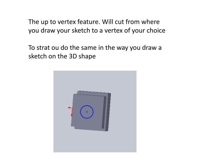 The up to vertex feature. Will cut from where you draw your sketch to a vertex of your choice