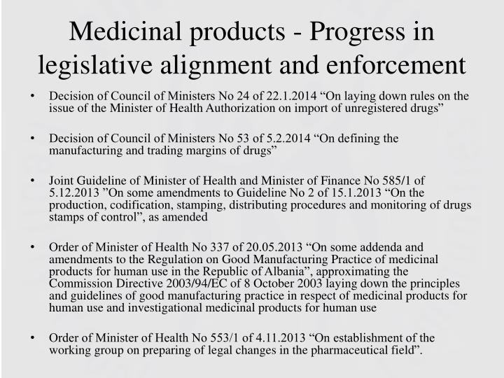 Medicinal products - Progress in legislative alignment and