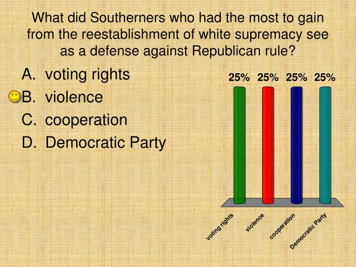 What did Southerners who had the most to gain from the reestablishment of white supremacy see as a defense against Republican rule?