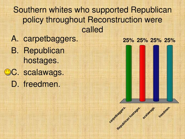 Southern whites who supported Republican policy throughout Reconstruction were called