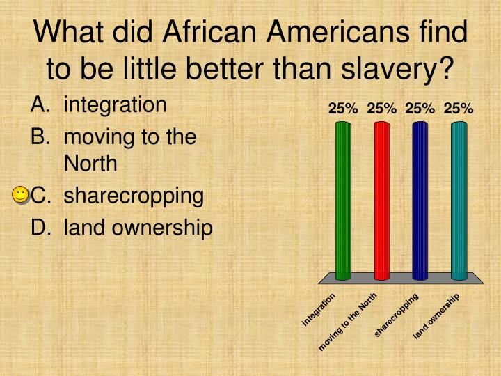 What did African Americans find to be little better than slavery?