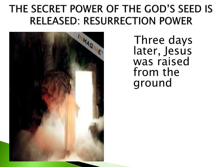THE SECRET POWER OF THE GOD'S SEED IS RELEASED: RESURRECTION POWER