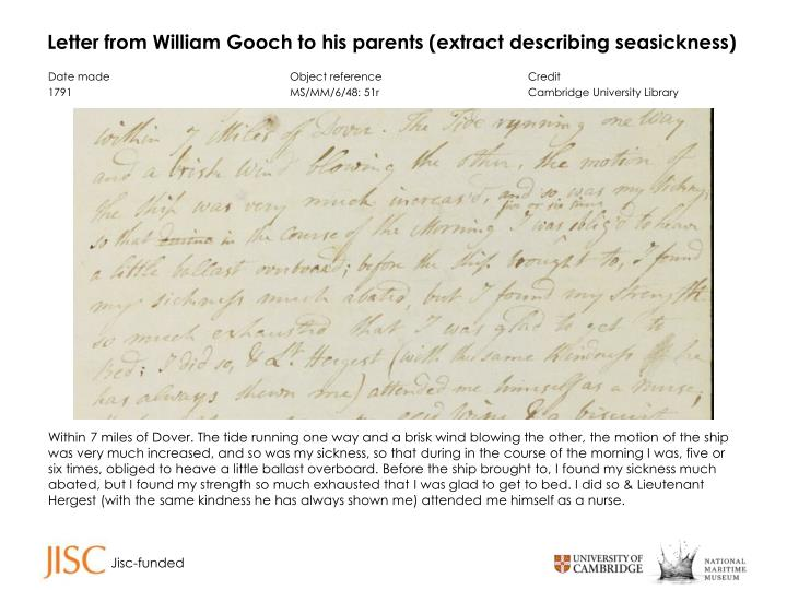 Letter from william gooch to his parents extract describing seasickness