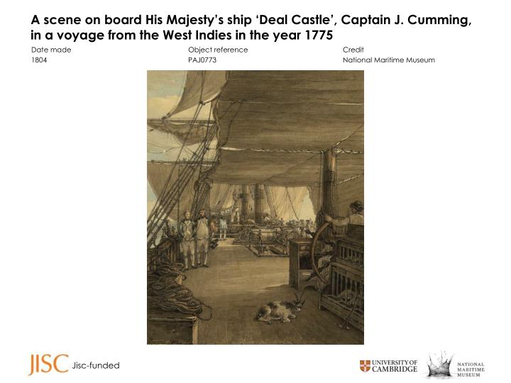A scene on board His Majesty's ship 'Deal Castle', Captain J. Cumming, in a voyage from the We...