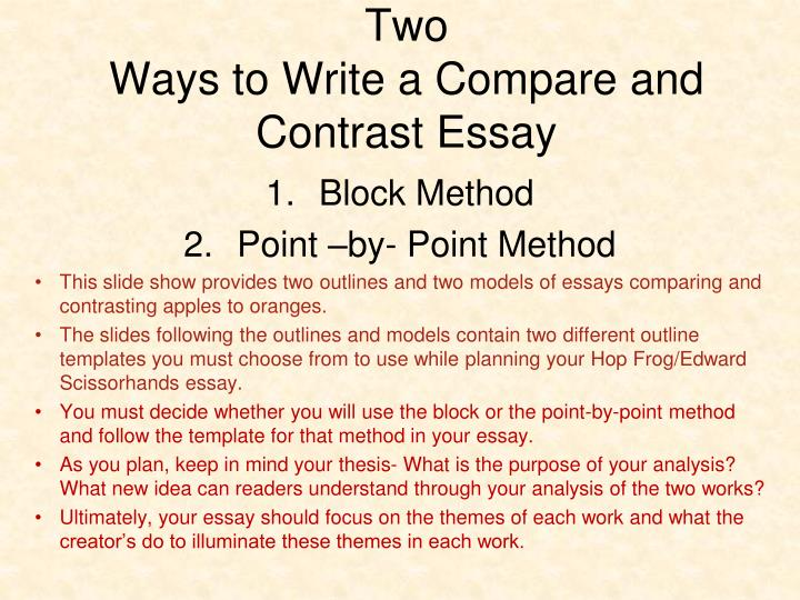 Compare And Contrast Essay Outlines