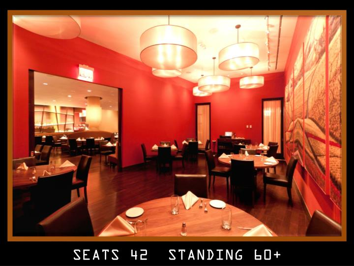 SEATS 42  STANDING 60+