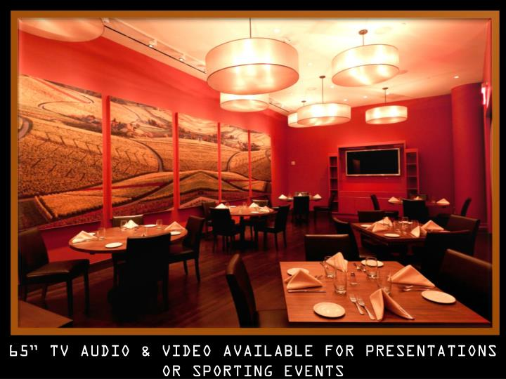 "65"" TV AUDIO & VIDEO AVAILABLE FOR PRESENTATIONS OR SPORTING EVENTS"