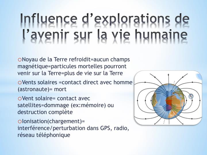 Influence d'explorations de l'avenir sur la vie humaine