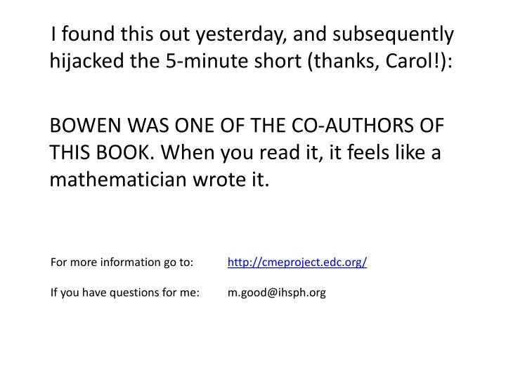 I found this out yesterday, and subsequently hijacked the 5-minute short (thanks, Carol!):