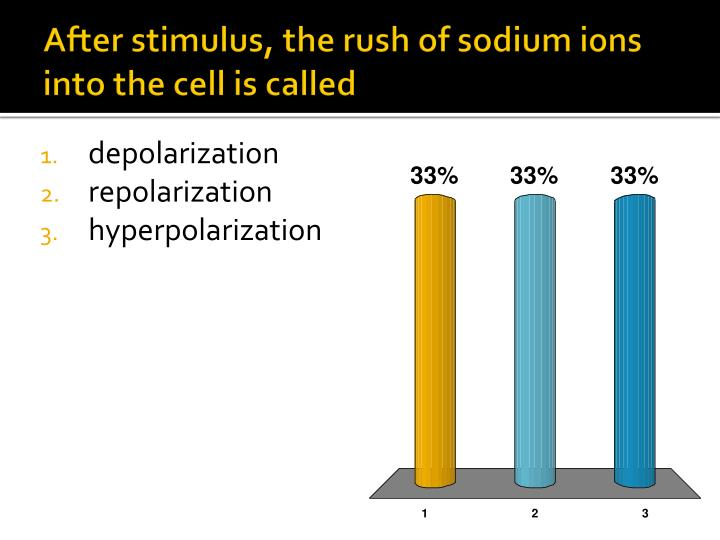 After stimulus, the rush of sodium ions into the cell is called