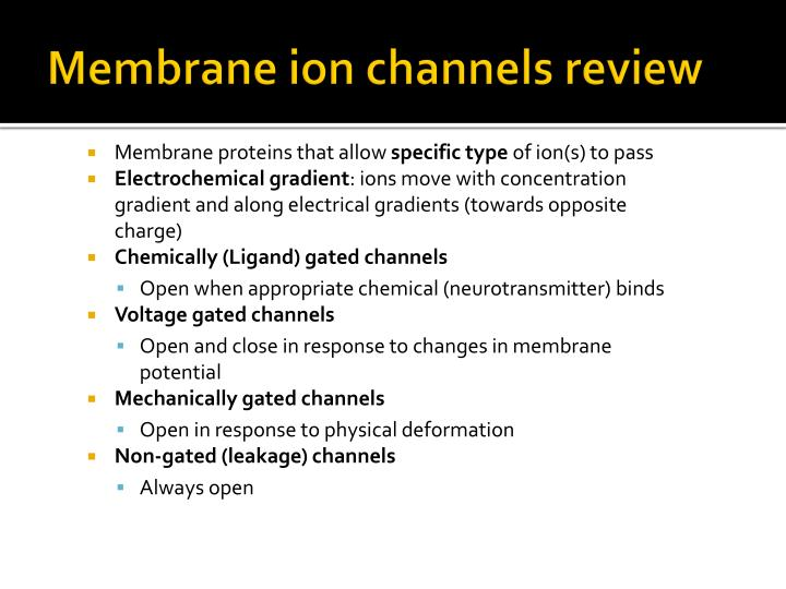 Membrane ion channels review