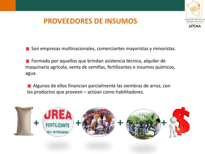 PROVEEDORES DE INSUMOS