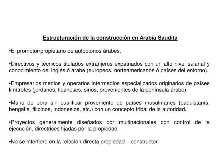 Estructuración de la construcción en Arabia Saudita