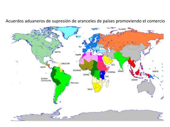 Acuerdos aduaneros de supresión de aranceles de países promoviendo el comercio