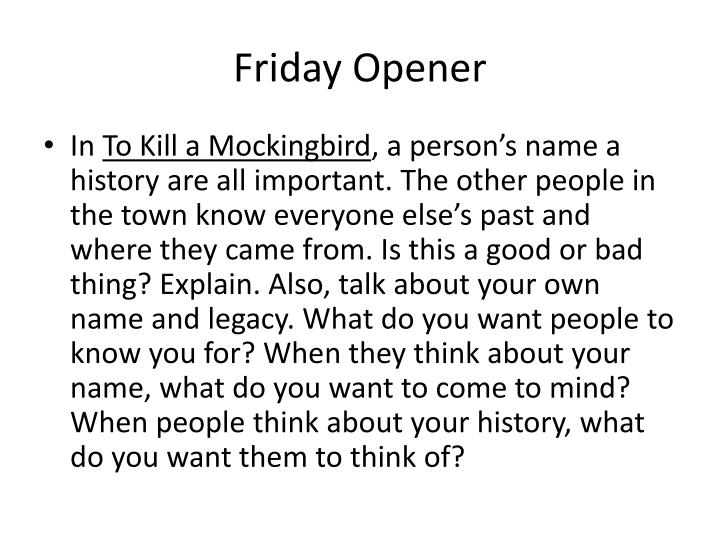 Friday Opener