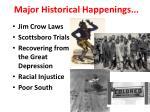 major historical happenings