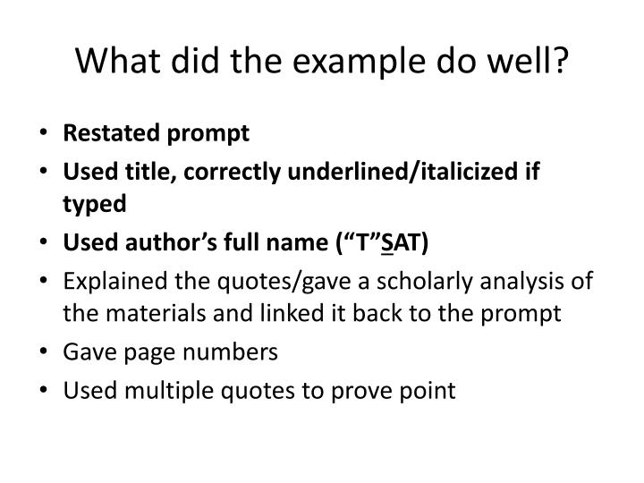 What did the example do well?