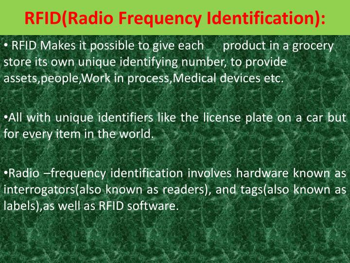 RFID(Radio Frequency Identification):