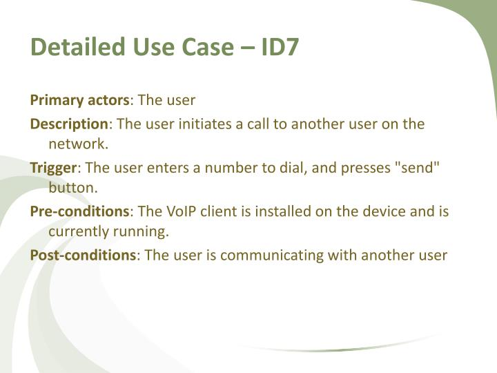 Detailed Use Case – ID7