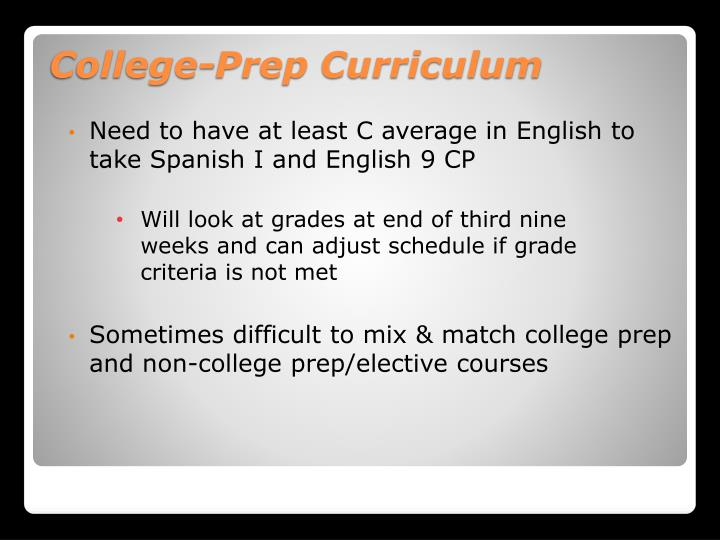 Need to have at least C average in English to take Spanish I and English 9 CP