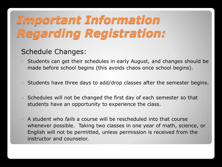 Schedule Changes: