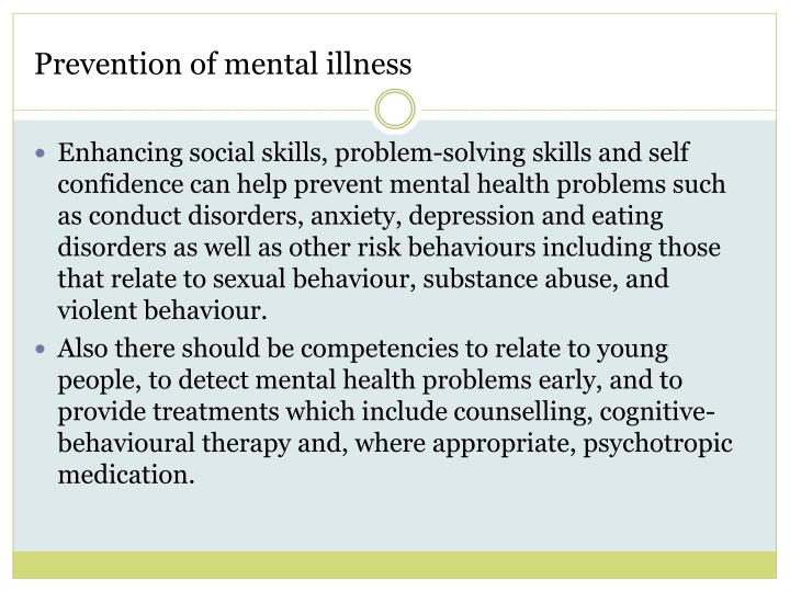 Prevention of mental illness