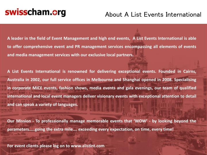 About A List Events International